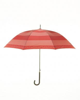OR サテンプリントボーダー柄長傘を見る
