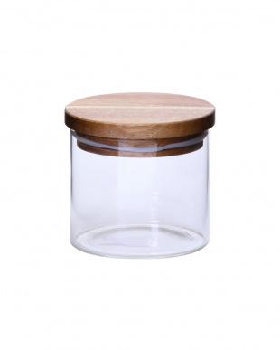 木蓋付ガラスキャニスター H9.5cm 2個セット見る