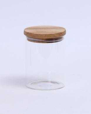 木蓋付ガラスキャニスター H14cm 2個セット見る