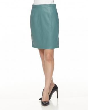 グリーン ヒロフェイクレザースカートを見る