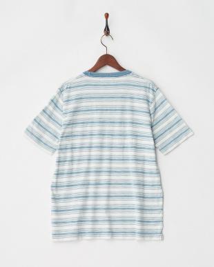 ブルー インディゴスラブボーダーTシャツを見る