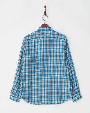 サックス 丸衿チェックネルシャツ L/S見る
