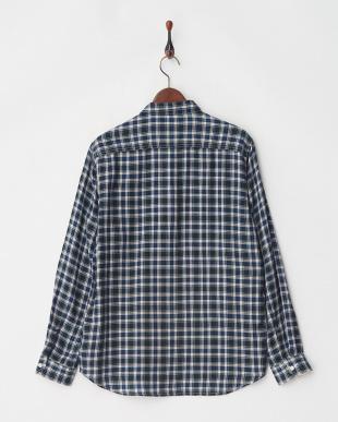 ネイビー 丸衿チェックネルシャツ L/S見る