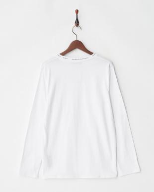 ホワイト 襟プリントTシャツ L/S見る
