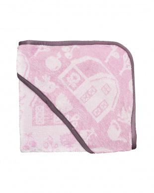 ピンク おくるみタオル フード付き ファーム ガールを見る