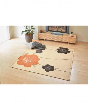 オレンジ リーリエ ウォッシャブルラグ 185×185cm見る