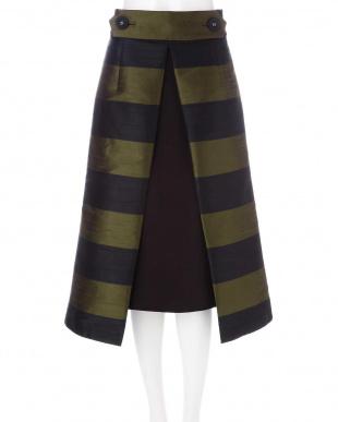 ブラック×カーキ シャンタンボーダーアンダースカート付きスカート アドーア見る