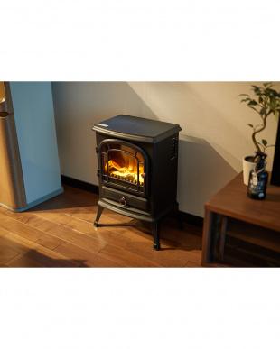 ブラック 暖炉型即暖セラミックファンヒーター見る