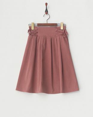 ピンク  ウエスト編上げフレアースカート見る