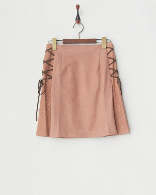 ピンク  レースアップAラインスカート見る