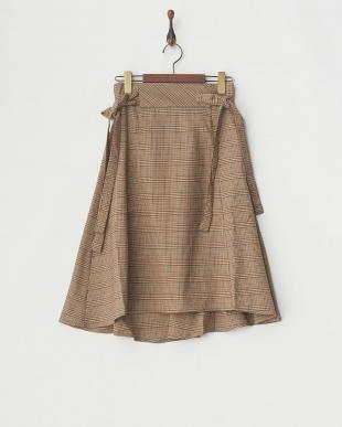 ブラウン/柄  チェック柄脇リボンフレアースカート見る