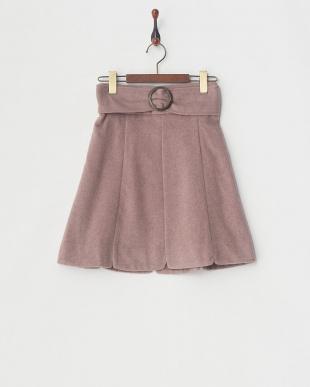 ピンク  ビッグバックルAラインスカート見る