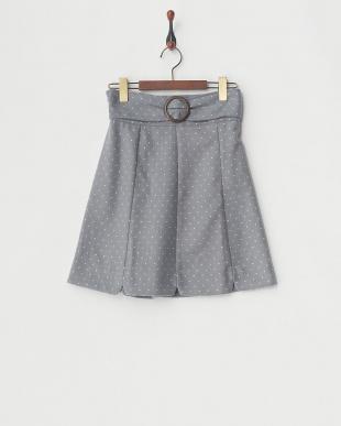 グレー/柄  ビッグバックルAラインスカート見る