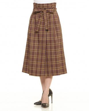 グリーン/柄  ウエストリボンチェックロングスカート見る