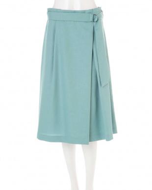 グリーン ◆大きいサイズ◆リネンライクラップ風スカート Aylesbury L見る