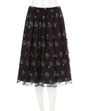 ピーコックグリーン ◆大きいサイズ◆チュールカラー刺繍スカート Aylesbury L見る