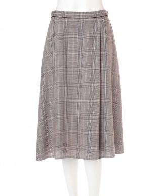 ブラウン ◆大きいサイズ◆グレンチェックワンタックフレアースカート◆ Aylesbury L見る