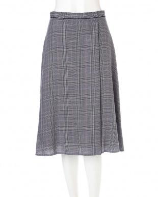 ネイビー ◆大きいサイズ◆グレンチェックワンタックフレアースカート◆ Aylesbury L見る