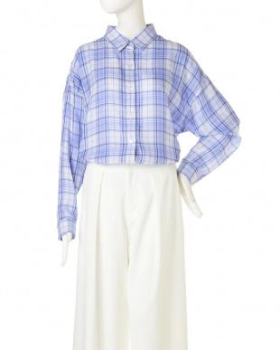 ブルー ◆大きいサイズ◆フォルムリバーシブルシャツ 22 OCTOBRE L見る