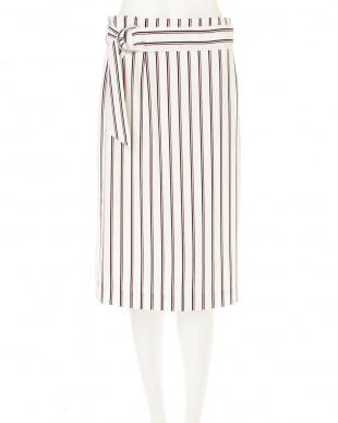 ホワイト ◆大きいサイズ◆[洗える]マルチストライププリントスカート 22 OCTOBRE L見る