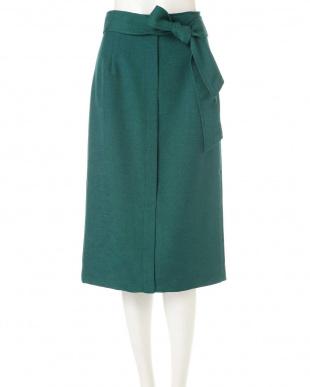 グリーン ◆大きいサイズ◆リネン調リネーラースカート 22 OCTOBRE L見る