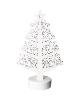 ホワイト  木製LEDツリー・スノーフレーク見る