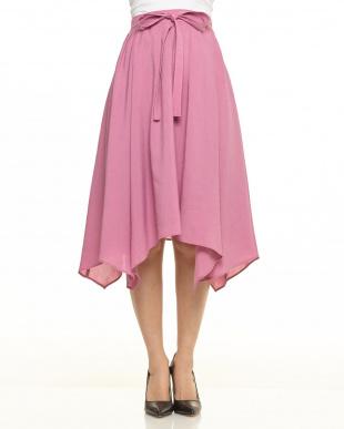 ピンク イレギュラーヘムカラースカート見る