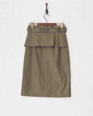 カーキ ツイルタイトスカート見る