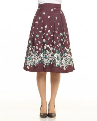 ワイン 裾フラワースカート見る