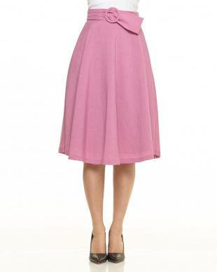 ピンク フレアーミディスカート見る