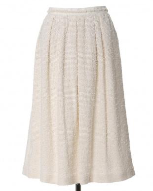オフホワイト1 ミモレ丈Aラインスカート 7-ID concept.見る