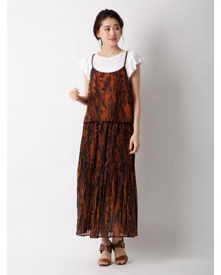 オレンジ1 リーフプリントキャミソール×スカート《2点セット》 CLEAR IMPRESSION見る