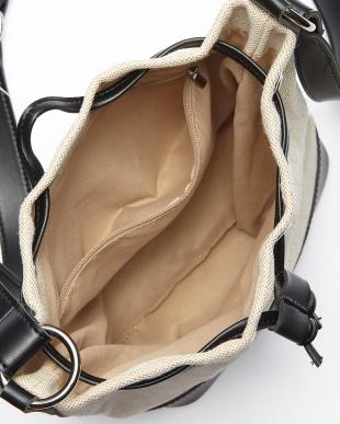 アイボリー×ブラック キャンバス巾着バッグを見る