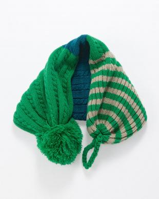 グリーン  2WAYマフラー帽子見る