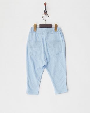 ブルー  ピケストライプ7分丈パンツ見る