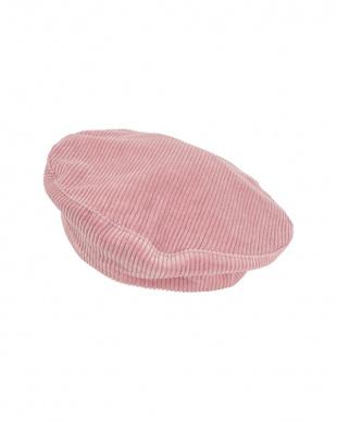 ライトピンク コーデュロイベレー帽見る