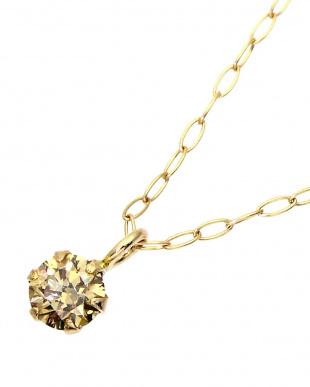 K10YG  天然ダイヤモンド 0.1ctアップ 6本爪ネックレス見る