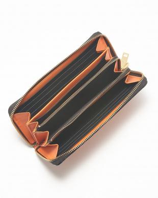 オレンジ  ラウンドファスナー長財布見る