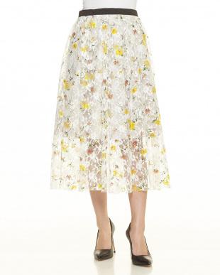 シロサブ マルチWAY花柄レースギャザースカート見る