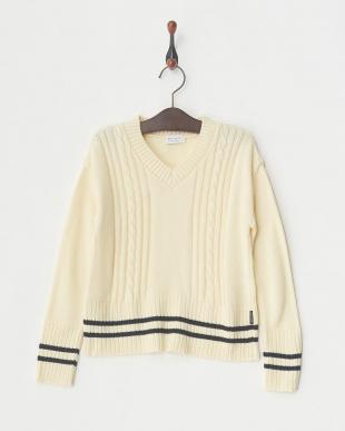 ホワイト メンアクリルラインセーター│UNISEX見る