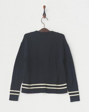 ネイビー メンアクリルラインセーター│UNISEX見る