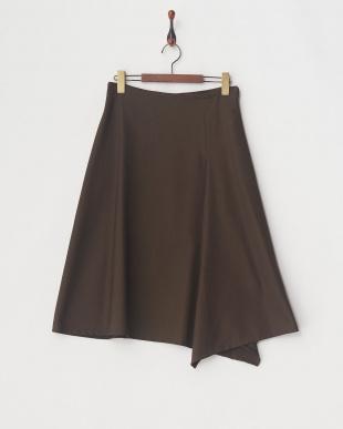 ダークブラウン ツィードストレッチ スカート見る