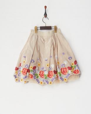 ベージュ  チュール付フラワースカート見る