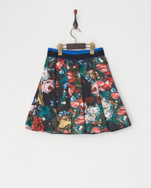 クロ  ボタニカルプリントスカート見る