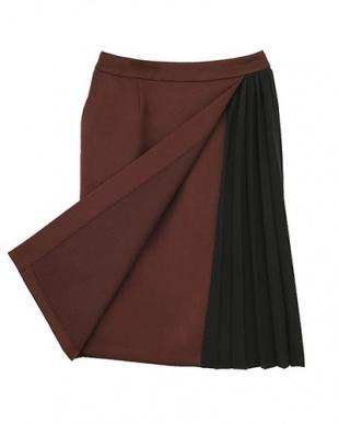 ブラウン Made in JAPAN サイドプリーツラップペンシルスカートを見る