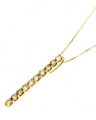 K18YG  天然ダイヤモンド計0.5ct シャンパンコニャックカラー ネックレス見る