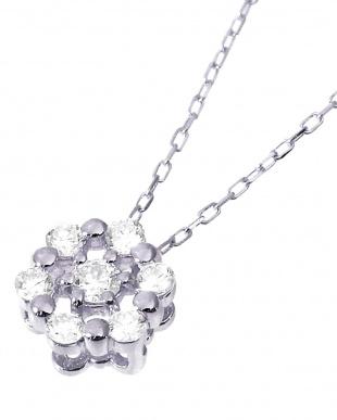 K18WG 天然ダイヤモンド 計0.1ct 7石サークル ネックレスを見る