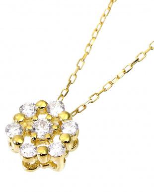 K18YG 天然ダイヤモンド 計0.1ct 7石サークル ネックレスを見る