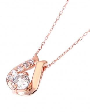 K18PG  天然ダイヤモンド 計0.2ct デザイン ネックレス見る