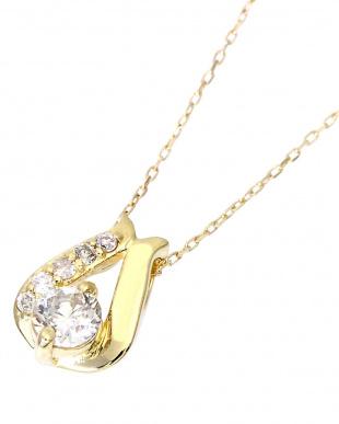 K18YG  天然ダイヤモンド 計0.2ct デザイン ネックレス見る